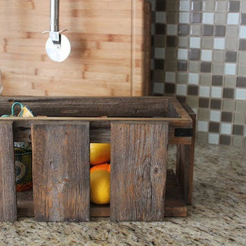 Rustic Modern Industrial Reclaimed Wood Crate Box Caddy - Magazine Box - Home Decor