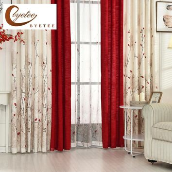 {Byetee} Beige Red Stitching Faux Cotton Linen Curtain Window Curtains For Living Room Luxury Pastoral Kitchen Roman Curtains
