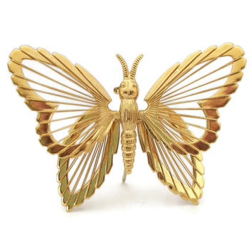 Monet Gold Tone Wire Butterfly Brooch Pin - Vintage Signed Monet Jewelry Openwork Butterfly Pin Open Design