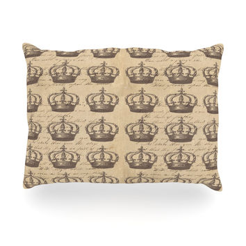 """Suzanne Carter """"Crowns"""" Brown Tan Oblong Pillow"""