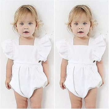 Ruffles Sleeve Romper Newborn Infant Baby Girl Playsuit Romper Sunsuit Jumpsuit Outfits