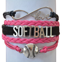 Infinity Collection Love Softball Pink Charms Bracelet