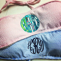 Seersucker Bandeau with Applique Monogram and Lily Fabrics...Summer...Beach...Personalized...Preppy