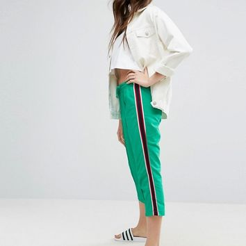 ASOS Cropped Track Pant with Side Tape at asos.com