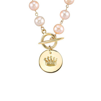 Pink Pearl Crown Pendant Necklace
