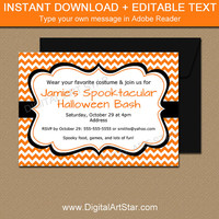 Halloween Invitation, Printable Halloween Party Invitation, Adult Halloween Invitation, Orange Chevron Invitation, Costume Party Invitation