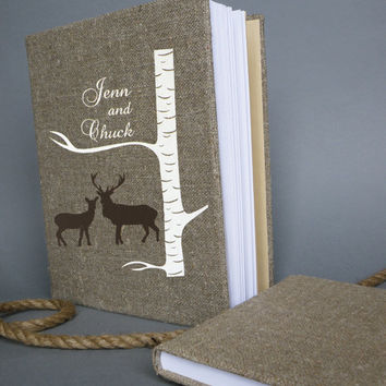 Wedding rustic old style photo album or scrapbook burlap Linen Bridal shower anniversary Doe and Buck under white birch tree