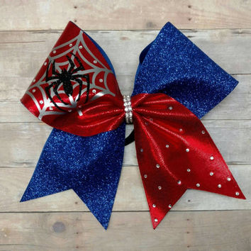 Spiderman cheer bow, superhero cheer bow,big cheer bow,  custom cheer bow,  spiderman hairbow