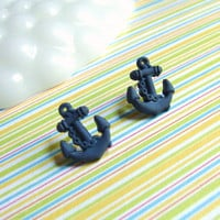 Anchors Away - Navy Blue Nautical Stud Earrings - OneUglyUnicorn