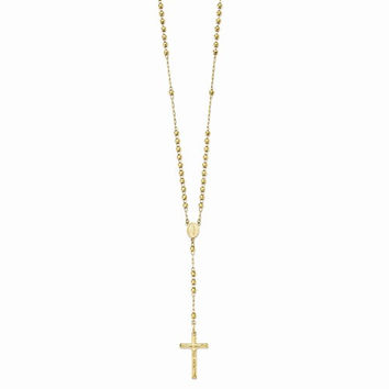 14K Yellow Gold Diamond-Cut Beaded Rosary Necklace