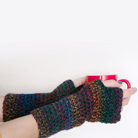 Fingerless gloves crochet dark shades multicolor, Danae, for women or teenagers