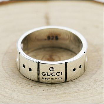 GUCCI Trending Women Men Stylish 925 Silvery Heart Type Couple Ring I12952-1