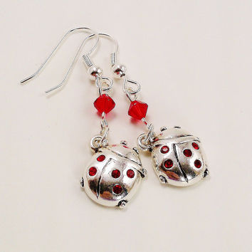 Red Ladybug Earrings Swarovski Crystal Bicone by TheSilverFindings
