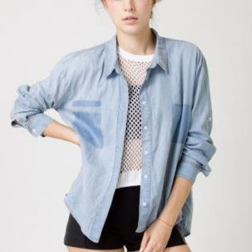 Blue Three-Quarter/Long Sleeve Top - Light Wash Denim Long Sleeve | UsTrendy