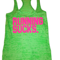 Running Sucks- neon green tank -neon pink text