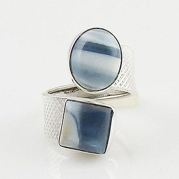 Owyhee Opal Sterling Silver Adjustable Ring