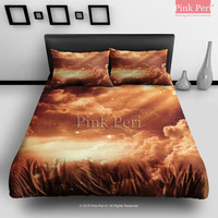 Morning Glow Evening Glow Galaxy Cloud Bedding Sets Home Gift Home & Living Wedding Gifts Wedding Idea Twin Full Queen King Quilt Cover Duvet Cover Flat Sheet Pillowcase Pillow Cover 068