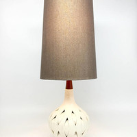 Mid Century Lamps, Mid Century Modern, Vintage Table Lamp, Danish Modern Lamp, Ceramic Wood Lamp, MCM Lamp, White Ceramic Teak Lamp