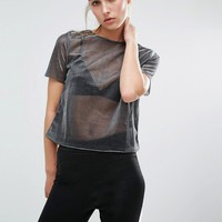 Miss Selfridge Metallic T-Shirt