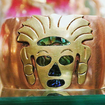 Copper Cuff Bangle Brass Abalone Cuff Mexico Hammered Copper Southwestern Aztec Inca Warrior Maya Native American BOHO Artisan Jewelry
