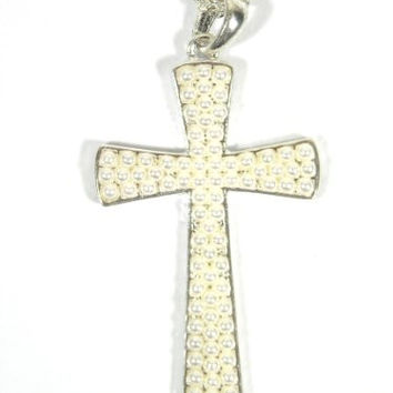 Faux Pearl Cross Necklace Christian Charm NC12 Layered Silver Tone Chains Antique Pendant Fashion Jewelry