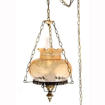 Summit Lamp Company 3624SW/LAG 27-Inch Swirl Swag Lamp with Hooks and Amber Student Shade