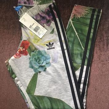 adidas Originals Farm Big Floral Lotus Leaves Print Leggings
