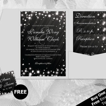 DIY Printable Wedding Pocket Fold Invitation Set A7 5 x 7 | Editable MS Word file | New Years Heaven White Sparkles Black