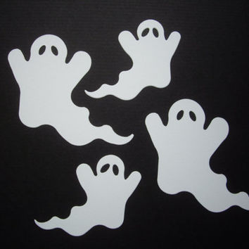 20 white ghost die cuts, halloween, 2 sizes, embellishment, decoration