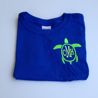 Boys Monogrammed Turtle TShirt by brooklynbelleboutiq on Etsy