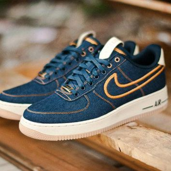 PEAPON Nike Air Force 1 Blue Golden For Women Men Running Sport Casual Shoes Sneakers