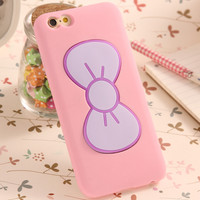 Case For iPhone 7 6S Plus Fashion Lovely 3D Bow-knot Soft Silicon Case For iPhone 6 6S 5 5SE 4 4S Candy Color Stand Holder Cover -0328
