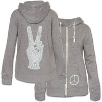 NEW! Peace Fingers Women's Eco Hoody: Soul-Flower Online Store