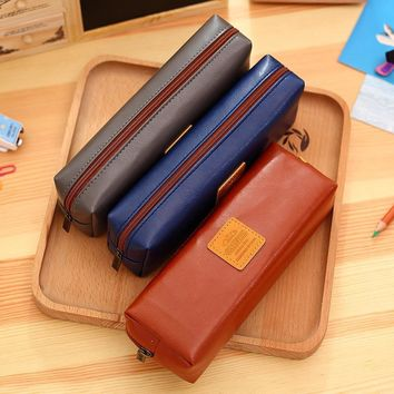 HOT Large School Leather Pencil case Bag 66617 Simple Life for Girls Boys Solid color Pencil box School Supplies Gift