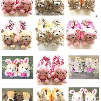 DCCK2JE WOMENS GIRLS NOVELTY COSY 3D ANIMAL SLIPPERS SIZE UK 4 - 5 NEW *CHOOSE TYPE*