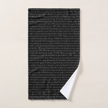 Jane Austen Text Black and WhiteTowel Set