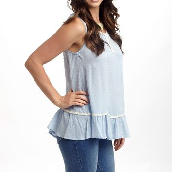 Pale Blue Textured Peplum Trim Tank Top