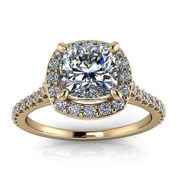 Diamond Halo Moissanite Engagement Ring - Danica