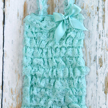 Aqua Blue Lace Ruffle Petti Romper for Girls (sizes 5T-10), girls birthday outfit, perfect with pettiskirt, 5, 6, 7, 8, 9, 10