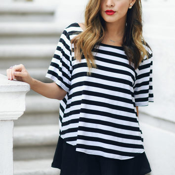 Lioness Striped Knot Back Tee