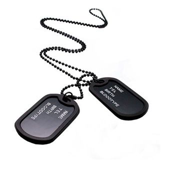 Military Army Style Tags Pendant Necklace