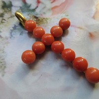 Antique Natural Coral Cross Necklace