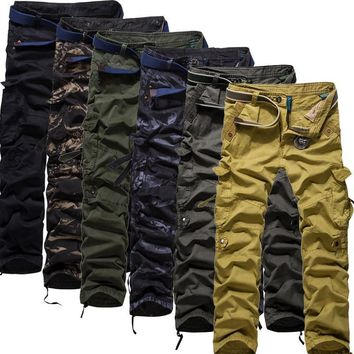 Men Plus Size Camouflage Outdoors Cotton Casual Pants [6541435971]