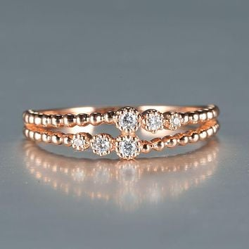 Solid 14k Rose Gold 0.07ct SI/H Full Cut Natural Diamonds Engagement Ring Women Wedding Band