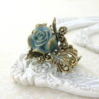 Dusty Blue Victorian Ring - Shabby Chic Rose Ring - Antique Brass Filigree Ring - Resin Rose Ring - Hand Painted Neo Victorian Jewerly