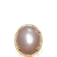 18K Gold Ring with Large Natrual Taupe Moonstone and Diamond Frame