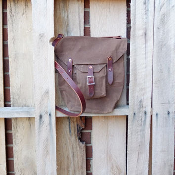 Waxed Brown Cotton Purse/Medium Shoulder Bag/Military Bag/ Canvas Shoulder Utility Bag with Leather Strap