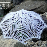 "30"" White or Black Diamond Lace Crochet UMBRELLA PARASOL, Barefoot Summer Wedding, Flower Girl, Steampunk, Goth-Ready to Ship"