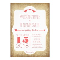 Modern Coral Love Birds Vintage Wedding Invitation