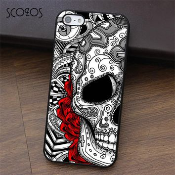 Sugar skull tattoo rose flower phone case for iphone X 4 4s 5 5s Se 5C 6 6s 7 8 6&6s plus 7 plus 8 plus